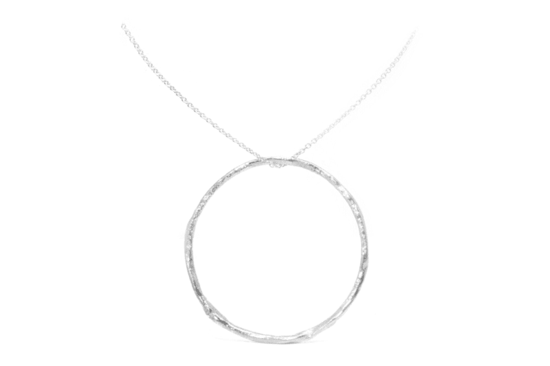 Wabi Sabi silver pendant with a silver chain