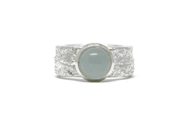 Wabi Sabi Frast ring with milkey green aquamarine