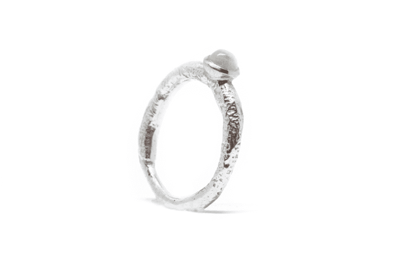 Wabi Sabi silver ring with a white moonstone