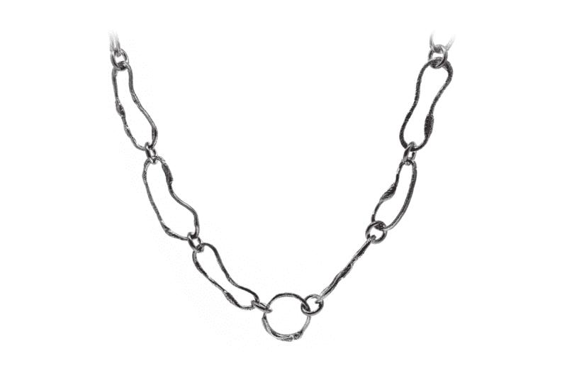 Wabi Sabi collier in rhodium plated silver
