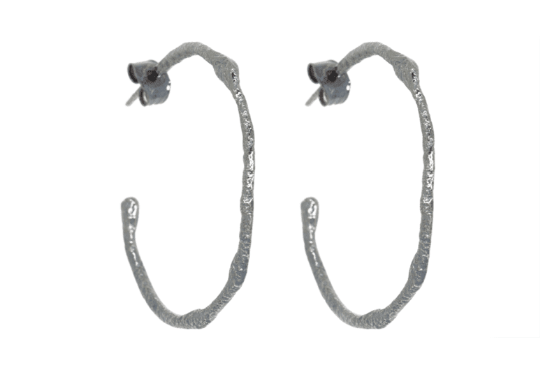 Wabi Sabi hoops in rhodium plated silver