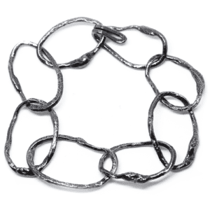 Wabi Sabi bracelet in rhodium plated silver