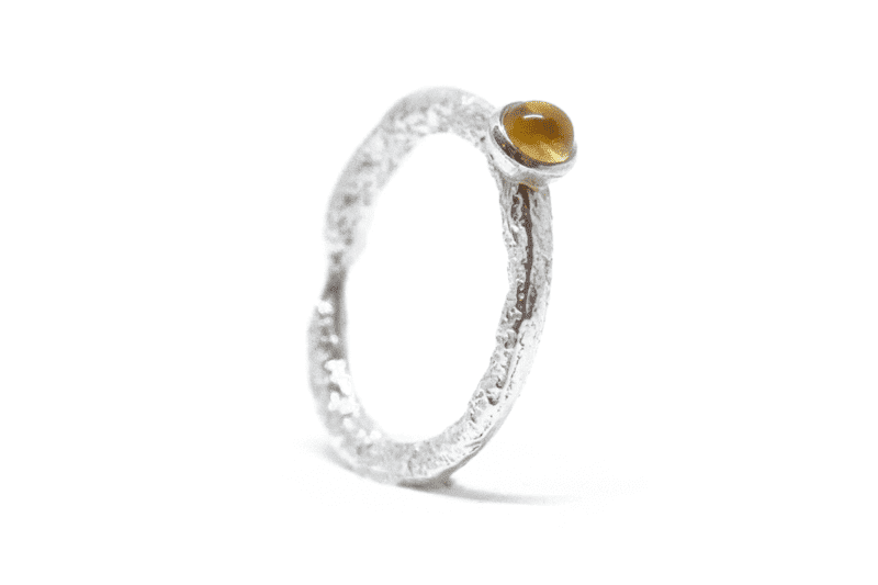 Wabi Sabi silver ring with a gemstone