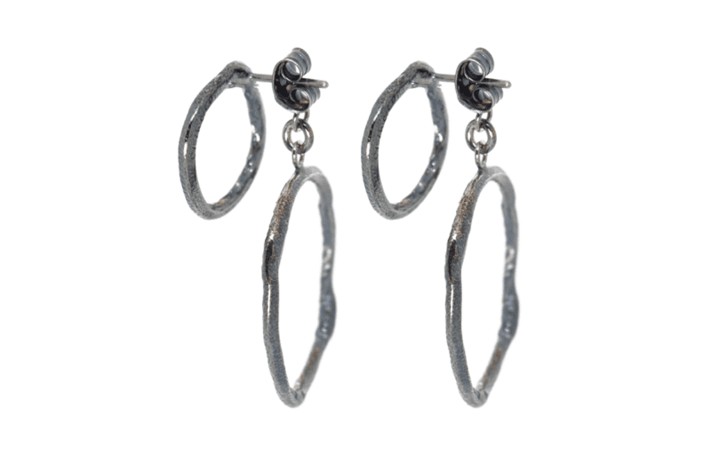 Wabi Sabi earstick in rhondium plated silver