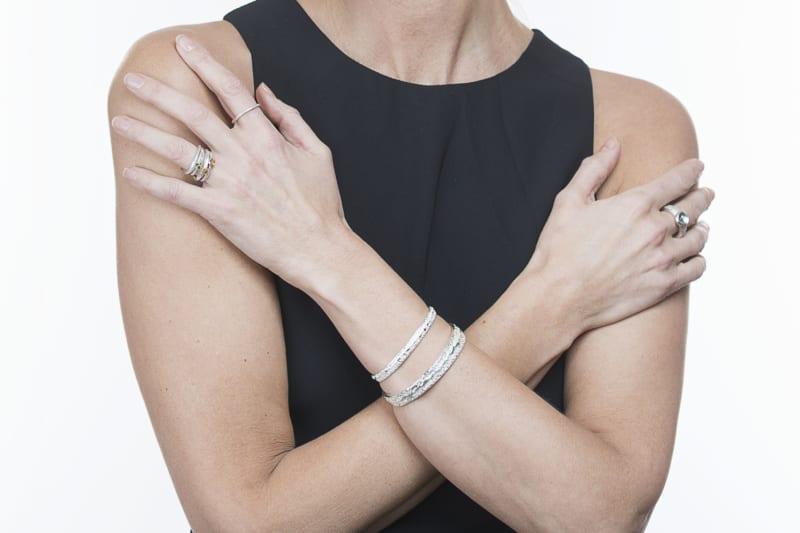 Wabi Sabi silver ring and arm cuff