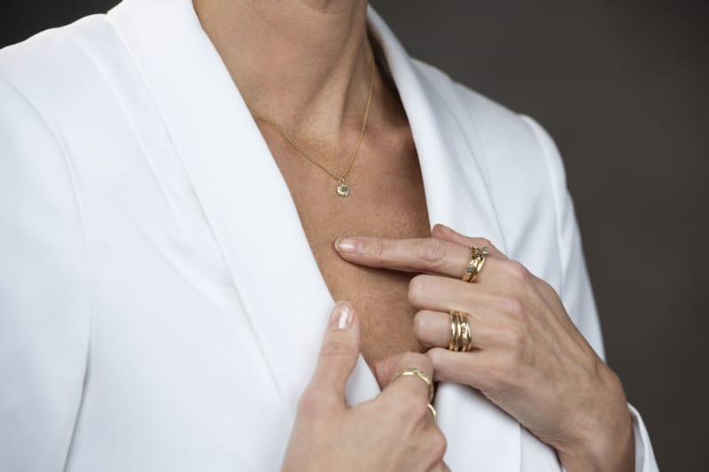 Wabi Sabi jewellery in gold with raw diamond