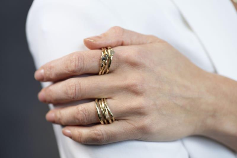 Wabi Sabi gold ring with raw diamond