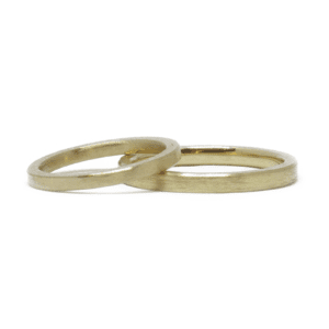 Wabi Sabi wedding rings in gold